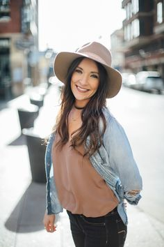 Revolve Chambray Shirt Light Brown Wool Hat - TJ MAXX Beaded Choker Necklace - Forever21 Brown Silk Top - LuLu's Black Ankle Boots- H&M Dark Jean - American Eagle  #thecollaborationblog #thecollabblog #ae #forever21 #lulus #h&m #tjmaxx