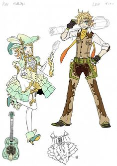 Kagamine Rin and Len Party×Party Character Design Character Sheet, Character Concept, Character Art, Concept Art, Hatsune Miku, Kaito, Len Y Rin, Kagamine Rin And Len, Vocaloid Characters