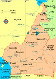 Map of Cameroon. Capital: Yaounde. Languages: French, English (both official); 24 major African language groups. Ethnicity/race: Cameroon Highlanders 31%, Equatorial Bantu 19%, Kirdi 11%, Fulani 10%, Northwest Bantu 8%, Eastern Nigritic 7%, other African 13%, non-African less than 1%