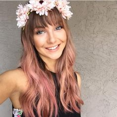 long rose gold hair with flower crown