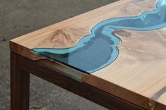 """a wee little desk with a river running through itclean, simple lines punctuated by an offset river modern, natural and functional*one-of-a-kind*24"""" x 40"""" x 30""""big leaf maple, walnut, glass"""