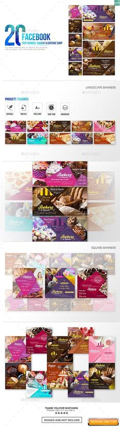 20 Facebook Post Banner – Bakery and Cupcake Shop Free Download | Free Graphic Templates, Fonts, Logos & Icons, PSD, AI