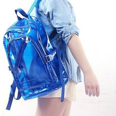 Large Candy Colored Transparent Clear Backpack