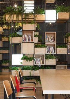 "Penda's Indoor Planting Modules Supply A ""green Oasis"" Inside Home Cafe Interior Design Magazine, Office Interior Design, Office Interiors, Cafe Interiors, Corporate Interiors, Office Designs, Modern Interiors, Luxury Interior, Interior Decorating"