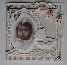 handmade baby announcement card ... adorable photo in die cut oval frame ... die cut buggy ... collage styling ... meant for display ...