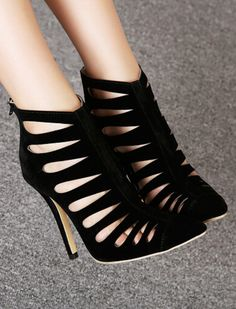 Cage cut out stiletto booties
