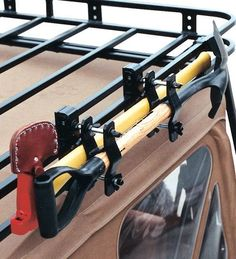 Good To use on a top rack. Garvin Industries 29920 - Garvin Industries Axe & Shovel Mount for Garvin Wilderness Rack - Quadratec Jeep Cherokee Xj, Jeep Xj, Jeep Truck, Jeep Wrangler, Jeep Mods, Truck Mods, Navara Tuning, Accessoires 4x4, Vw Caddy Mk1