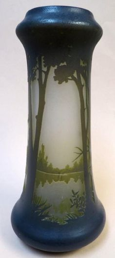Daum Nancy Cameo glass vase France 1920 H: 9""