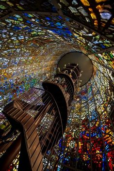 Stained Glass Staircase, Hakone Outdoor Museum, Kanagawa, Japan -- this could really be our Stairway to Heaven! Art Et Architecture, Beautiful Architecture, Beautiful Buildings, Beautiful Places, Ancient Architecture, Beautiful Pictures, Gaudi, Stairway To Heaven, Stairway Art