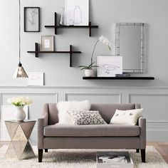 Love these shelves--maybe for the small walls over the TV