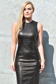 Lindsey Vonn attends the Giorgio Armani show - Wendy Buijs Bodycon Cocktail Dress, Bodycon Dress, Lindsey Vonn, Botas Sexy, Leder Outfits, Black Leather Dresses, Elegantes Outfit, Mini Vestidos, Giorgio Armani