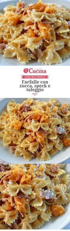 Farfalle con zucca, speck e taleggio – Rezepte I Love Food, Good Food, Yummy Food, Cooking Recipes, Healthy Recipes, Pasta Recipes, Ravioli, Pasta Dishes, I Foods