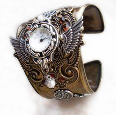 Steampunk Watch Cuff  Brass Silver Winged Mens Womens Steampunk Jewelry. €168.00, via Etsy.