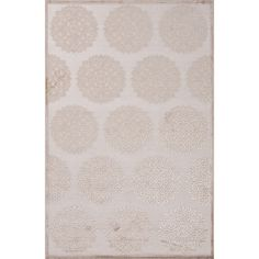 Lend a feminine touch to the living room or master suite with this lovely rug, showcasing a damask-inspired pattern in ivory and taupe.