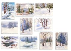 Christmas Card Patterns Winter Landscape Holiday Greeting Cards