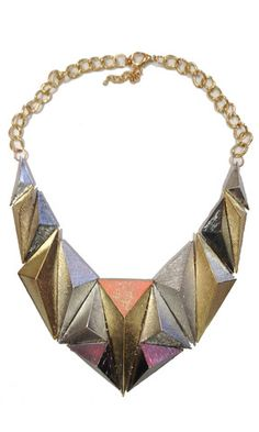 Bold Pyramid Necklace  -Chunky   -Puzzle Piece Style  -Gold and Silver Triangles  -3D look  -Mid Length  $25.00  http://stylebox8.com/collections/necklace/products/bold-pyramid-necklace