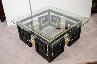 Mid Century Greek Key Coffee Table with Brass Accents | nyshowplace.com