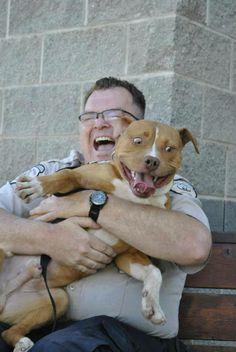 Pit Bull Love #pitbull #dogtraining #clubcanine  The guy looks so happy,the dog looks a little freaked out.  Great picture