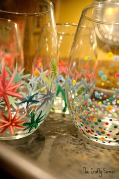 Painted Wine Glasses - I like the look of these. Surely, I could do this with my glass paints!