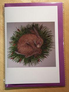 Nesting Hare Blank Greeting Card by HoneybeeandtheHare on Etsy