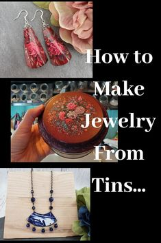 Easy tutorial on how to create stunning jewelry from cookie tins, tea tins and cake tins. Tin Jewelry Diy, Recycled Jewelry, Jewelry Tools, Metal Jewelry, Jewelry Crafts, Jewelry Art, Vintage Jewelry, Diy Jewelry Inspiration, How To Make Earrings