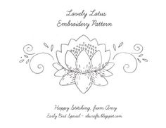 Lovely hand embroidery design of lotus flower, sourced from a vintage pattern. Enjoy.