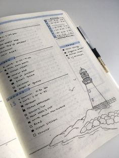 Weekly spread with drawing of a lighthouse in bullet journal