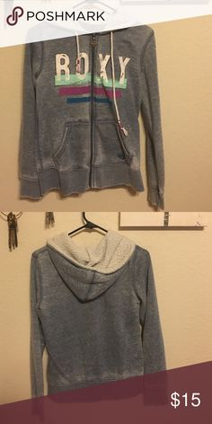 Roxy Zip Up Hoodie Great hoodie! It's like a denim color distressed blue. In good pre-loved condition, some light pulling on the outside, no rips stains ect. Super comfy! Roxy Sweaters
