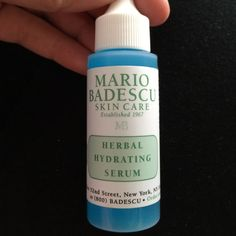 Herbal hydrating serum Great for all skin types can be used as a moisturizer for oily skin or on top of your favorite moisturizer for a dry to normal skin. I have noticed that is also great for a sensitive skin. Mario Badescu  Makeup