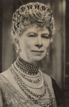 Mary of Teck - Wife and Queen consort of King-Emperor George V, of the United Kingdom and the British Dominions, and Empress of India, wearing the Grand Duchess Vladimir Tiara.