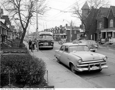 A Bowes Taxi parked on Ossington Ave., view looking south to Hepbourne Street, Dec. - Courtesy of City of Toronto Archives, Fonds Series File (Thanks to Rob Pineault for pointing out the taxi in this image for our Taxi album. Toronto Ontario Canada, Toronto City, Old Pictures, Old Photos, Vintage Photos, Newbury Park, Landscape Photos, History Pics, Real Estate