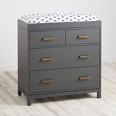 Cargo 2-Over-2 Changing Table (Charcoal) - such a lovely piece of furniture from Land of Nod. Beautiful, classic, mid century dresser with changing table topper.