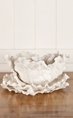 Hand-Crafted French Artisan Cabbage Porcelain Tureen by Treillage Now Available on Moda Operandi