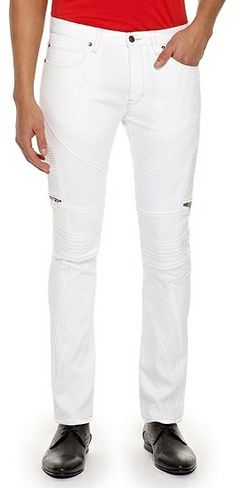 Hugo Boss HUGO 045   Skinny Fit, Cotton Blend Biker Jeans - White on shopstyle.com