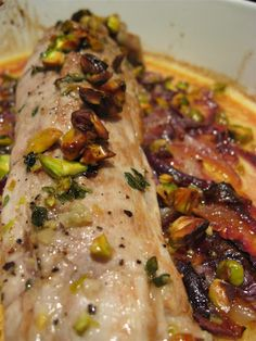 Morsels and Musings: roast pork fillet w cider & pistachios