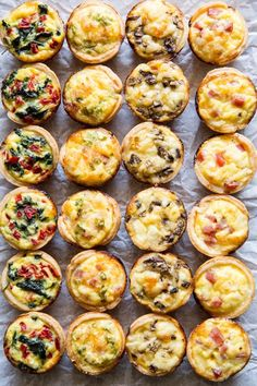 Skip the store-bought and make your own Mini Quiche! Try these 4 tasty combos or choose your own adventure. Make ahead/freezer friendly and great for kids! I remember trying Mini Quiche appetizers as Chicken Thights Recipes, Chicken Parmesan Recipes, Easy Chicken Recipes, Recipe Chicken, Healthy Chicken, Chicken Salad, Aperitivos Finger Food, Mini Quiche Recipes, Elegant Appetizers