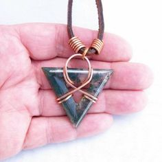 Moss Agate Triangle Wire Wrapped Pendant Handmade Necklace