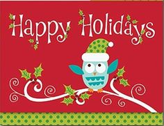 Glittery Whimsical Holiday Owl 16 Christmas Holiday Boxed Greeting Cards #MasterpieceStudios