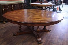 Custom American Made Round Satinwood Mahogany Dining Table Regarding Size  7 Foot Round Dining Room Table If You Look After Your Parasol Yo