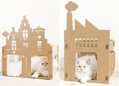 Artistic Cardboard Cribs for Cats
