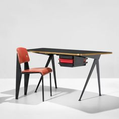 Jean Prouvé x Charlotte Perriand Desk with drawers & Chair,