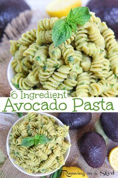 Creamy Avocado Pasta recipe - only 6 ingredients. This healthy, vegetarian and vegan friendly dinner is easy, quick, si Pastas Recipes, Easy Pasta Recipes, Baby Food Recipes, Recipes Dinner, Pasta Recipes For Babies, Kid Recipes, Lunch Recipes, Cookie Recipes, Vegetarian Pasta Dishes