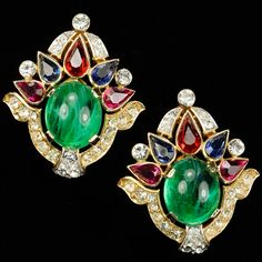 Trifari 'Alfred Philippe' 'Jewels of India' Gold Pave Ruby Sapphire and Emerald Cabochon Clip Earrings