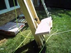 Designed and built this shingle/material/tool lift to use when helping my Dad roof his house to get around the worst part of roofing -- carrying shingles up the ladder. Designed in Autodesk Inventor using some old elevator roller guides and hatch door rollers as pulleys (both ball bearings). It is roped 2:1 so the person pulling has to walk doub...