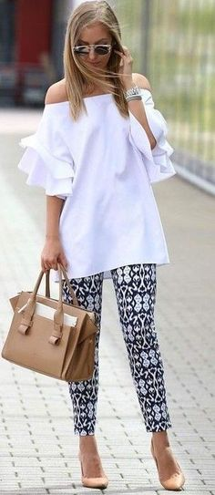 #summer #trendy #outfits |  White Off The Shoulder Top + Printed Pants