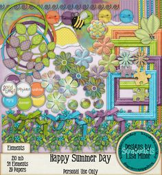 Happy Summer Day Digital Scrapbook kit, flower clip art, word brads, digital frames, digital flowers, digital buttons, digital puzzle elements, watercolor elements, summer scrapbook, digital scrapbook, scrapbook kit