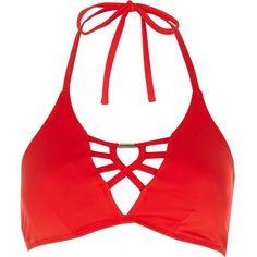 River Island Red strappy bikini top ($32) ❤ liked on Polyvore featuring swimwear, bikinis, bikini tops, red, swimwear / beachwear, women, strappy halter bikini top, halter top, tankini tops and halter bikini top
