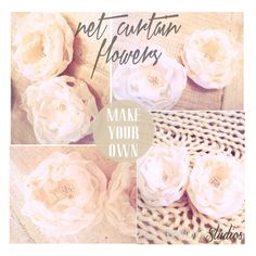recycled net curtain flowers