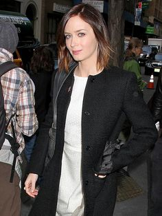 kinda like the simplicity of this chic black coat and ivory slip dress