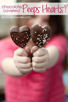 Chocolate Covered Peeps Hearts | What a fun and easy Valentine's Day treat! Put them on a stick and in cute packaging for school treats!